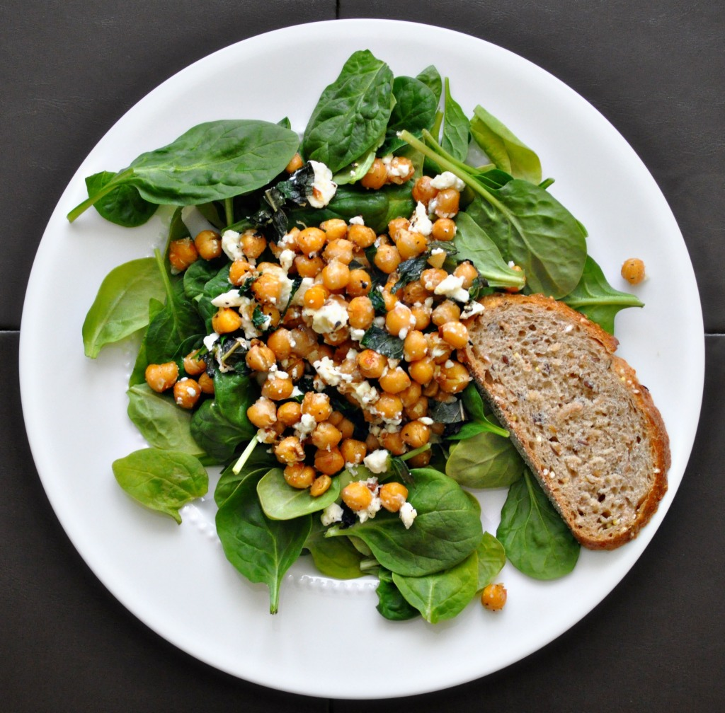 roasted chickpeas with feta and mint over spinach