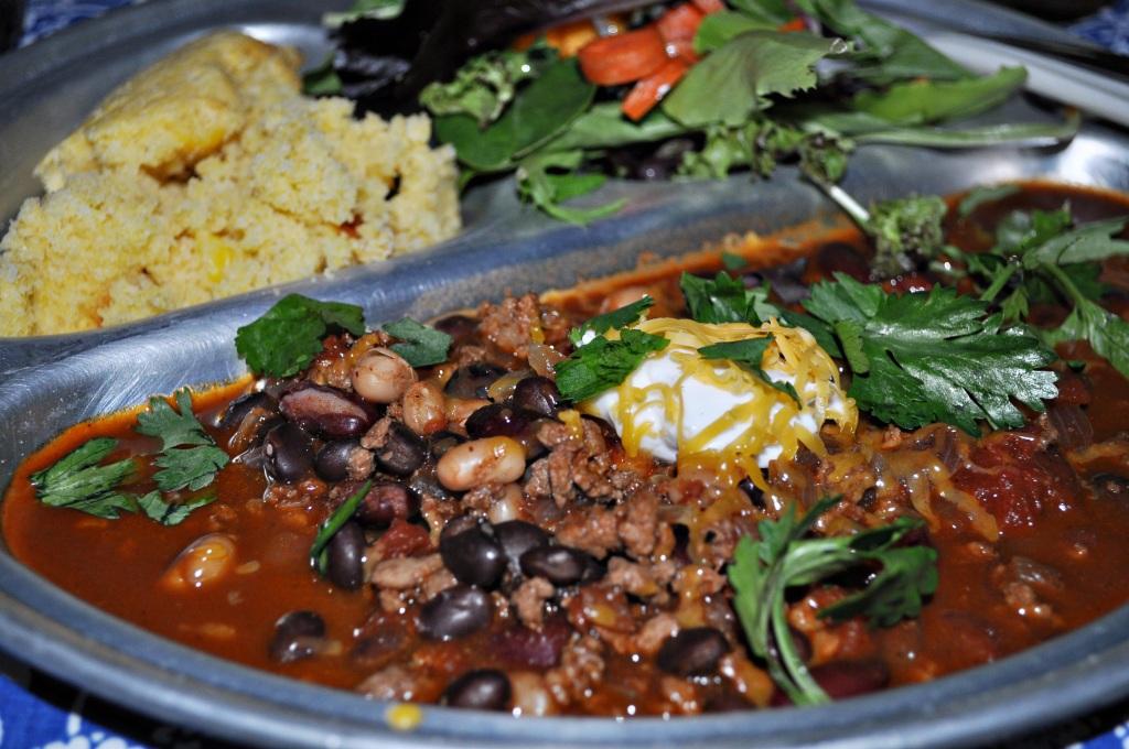chili cornbread and salad