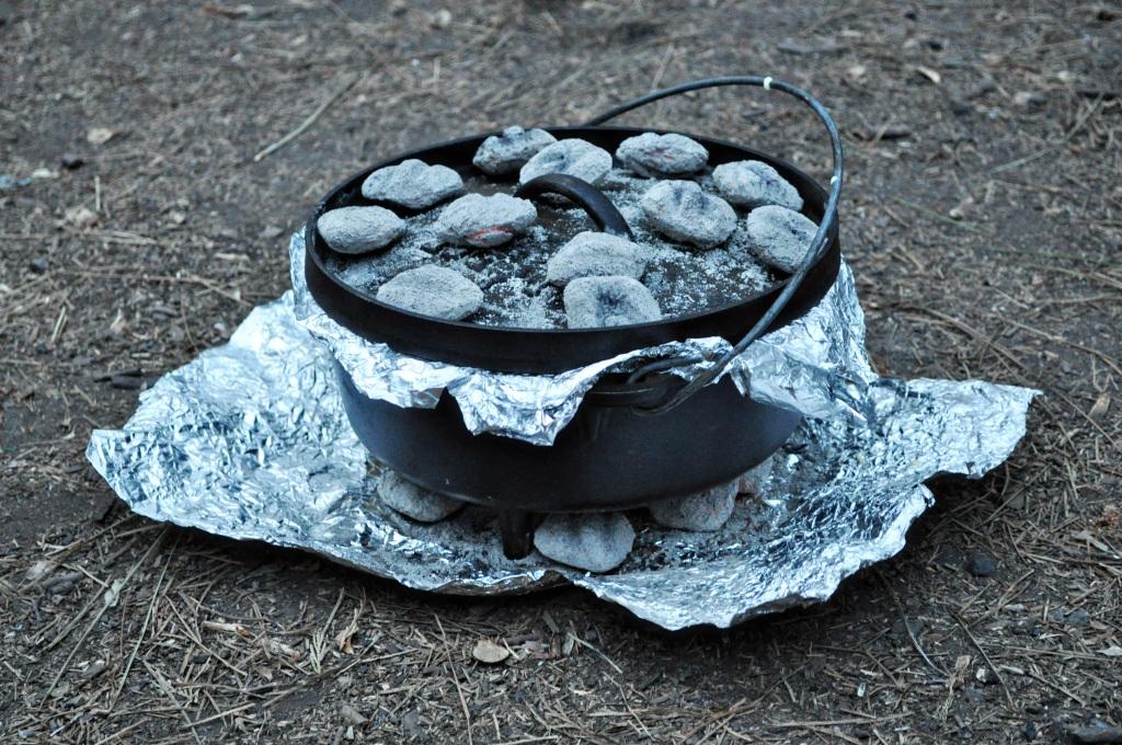 dutch oven with coals