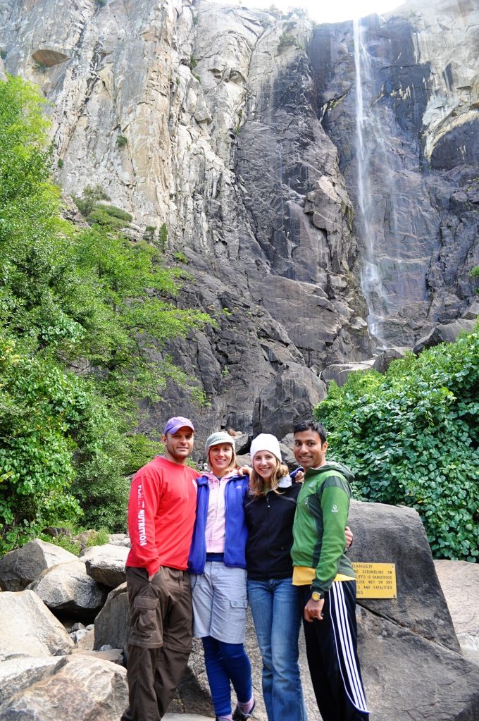 group in front of bridal veil falls