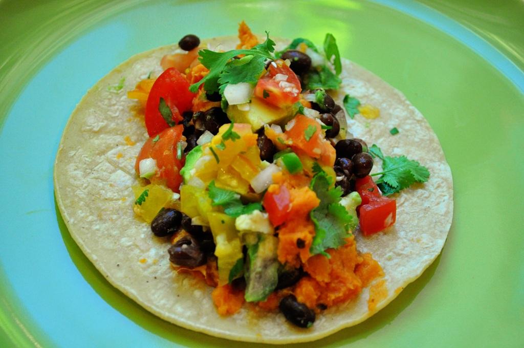 taco with chipotle sweet potato mash