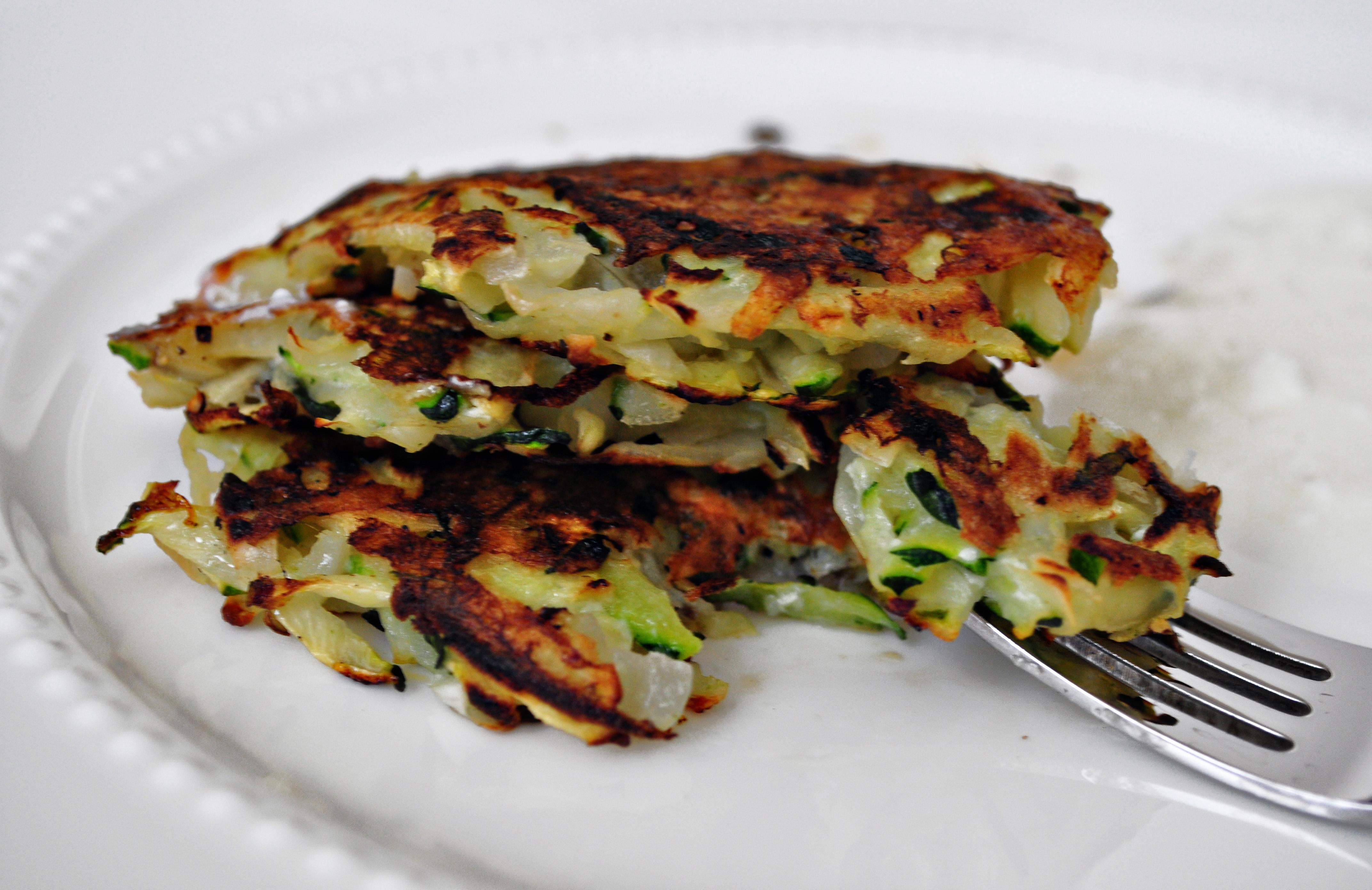 like to stack my Zucchini-Potato Pancakes three high and eat them ...