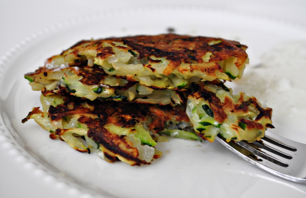like to stack my Zucchini-Potato Pancakes three high and eat them ...