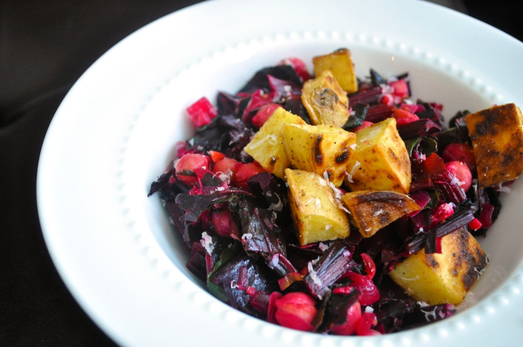 Beet Greens with Chickpeas and Sauteed Potatoes