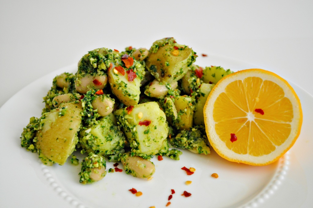 Potatoes with Parsley Pesto and White Beans