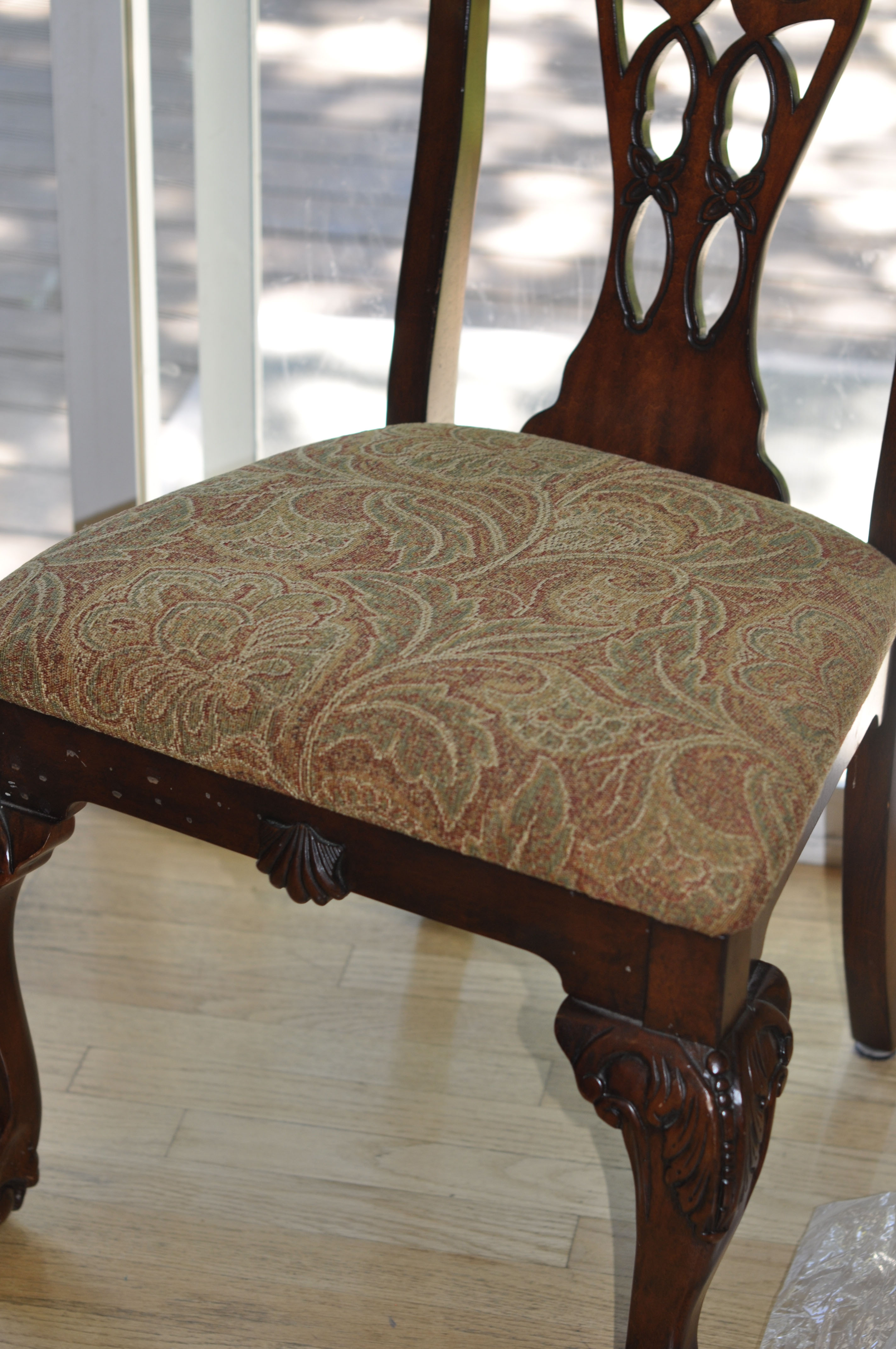 chair cushion after - Reupholstered Dining Room Chairs